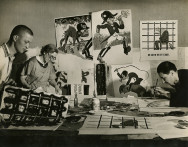 Margaret Bourke-White, [Russian artists working on anti-Hitler propaganda posters, Soviet Union], 1941 Courtesy of Special Collections Research Center, Syracuse University Libraries Photo © Estate of Margaret Bourke-White/Licensed by VAGA, New York, NY