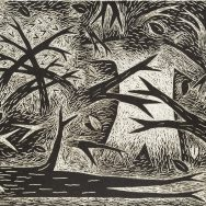 black and white print of vines and trees