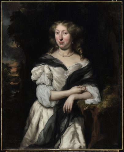 Painting of a regal woman in a white dress with a blue shawl