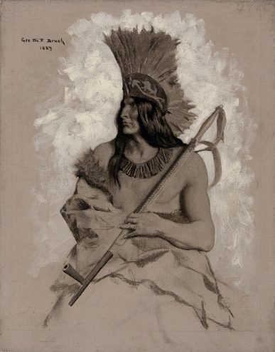 illustration drawing of a Native American chief