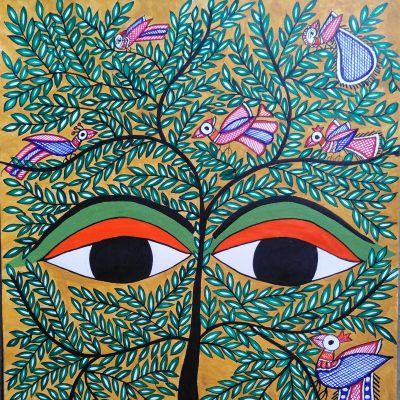Floral tree depicted as a face with eye in the middle