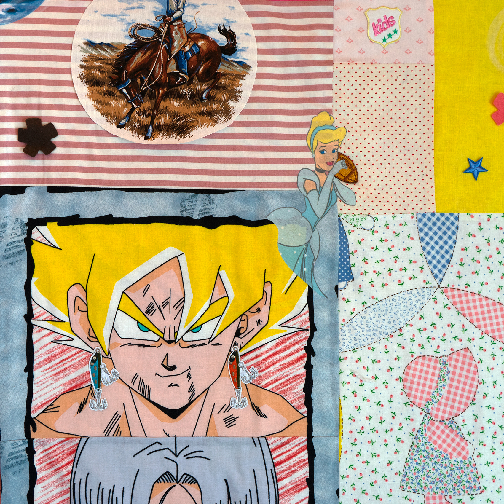 collaged textile artwork with different patterns in blues and pink with figural images overlay