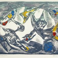 Abstract print with bird like forms in the center insice a white orb shape
