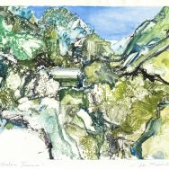 Artistic rendering of a abstract mountain landscape in colors of green adn cream and blue, wiht a portion of a blue sky in the backgorund